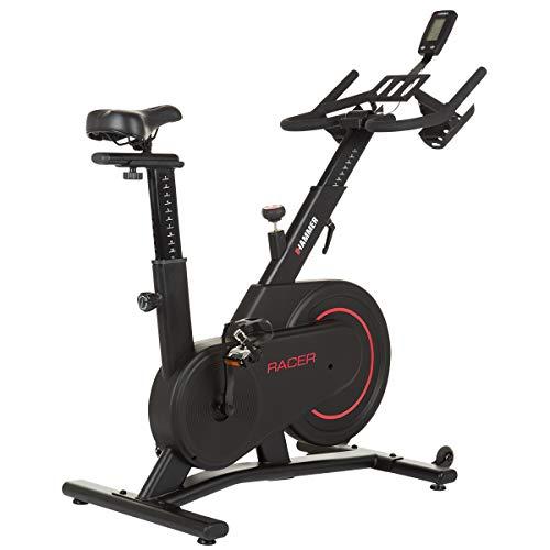HAMMER Speedbike Racer, Indoor Cycle, 16 kg Schwungmasse, LCD-Screen + Tablet- und Smartphone-Halterung, kompatibel mit Kinomap und BitGym, 115 x 50 x 134 cm