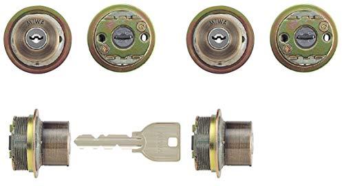 MIWA(美和ロック) U9シリンダー LIXタイプ 鍵 交換 取替え 2個同一セット MCY-427 TE0/LIXゴールド系古美色(SA)33〜42mm