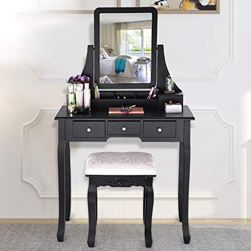 Steagoner Vanity Set with Mirror Dressing Table Vanity Makeup Table Set w/Cushioned Stool and 5 Drawers for Women Girls