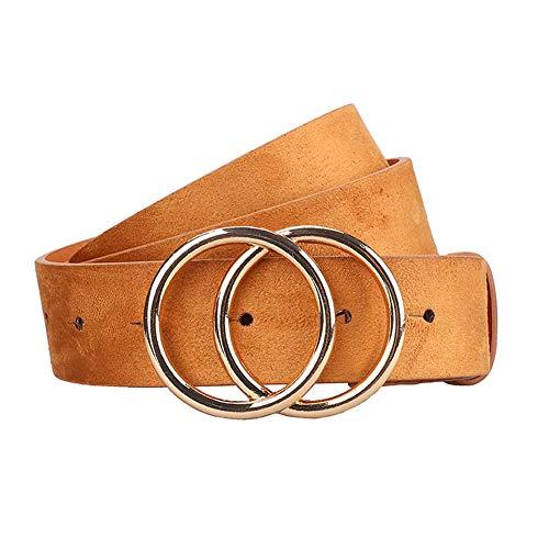 Earnda Women's Leather Belt Fashion Soft Faux Leather Waist Belts For Jeans Dress Camel Large