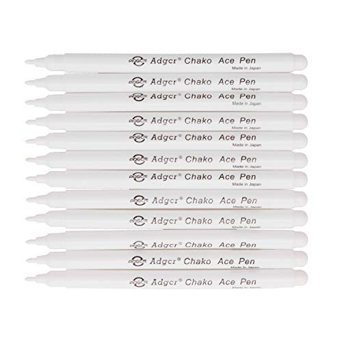 Air Erasable Fabric Marking Pen Disappearing Ink Makring Pen Fabric Marker Water Soluble Ink for Embroidery Cross Stitch Handicarft Needlework Quilting Tracing and Stitching, White Ink, Pack of 12