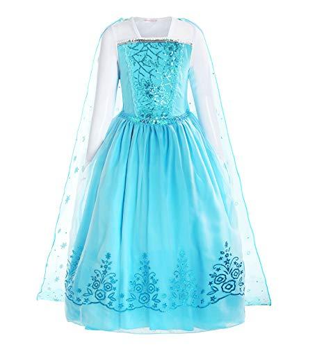 ReliBeauty Mädchen Kleid Prinzessin ELSA Eiskönigin Langarm Falten Pailletten Schneeflocken Kostüm, Hellblau, 98-104 (Etikett 100)