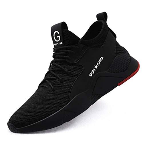 [tqgold] 安全靴 作業靴 スニーカー 軽量 鋼先芯 通気性 耐摩耗 耐滑ソール メンズ レディース ハイカット ブーツ 黒 作業 靴 仕事 工事現場 疲れない おしゃれ あんぜん靴 (ブラック 25.0cm)