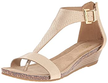Kenneth Cole REACTION Women s Gal T-Strap Wedge Sandal Soft Gold 7