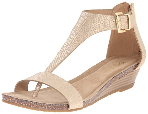 Kenneth Cole REACTION Women's Great Gal T-Strap Wedge, Soft Gold, 7.5 M US