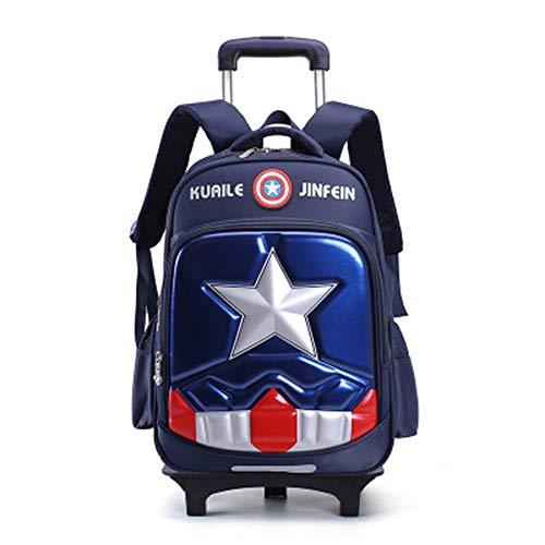 Koffer XYDBB Reistassen voor kinderen Op wieltjes voor tas op wielen Rugzakken rollen Zoals afgebeeld-6 Marine 2 wielen