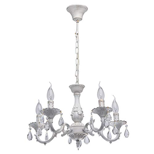 MW-Light 371012605 Kerzen Kronleuchter Shabby Chic Klassisch Weiß Metall mit Kristall 5 Flammig E14 x 60W