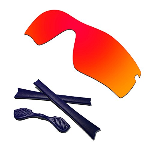 HKUCO Red Polarized Replacement Lenses plus Blue Earsocks Rubber Kit For Oakley Radar Path