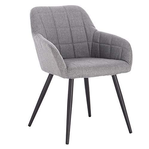 WOLTU® Esszimmerstuhl BH107hgr-1 1 Stück Küchenstuhl Polsterstuhl Wohnzimmerstuhl Sessel mit Armlehne, Sitzfläche aus Leinen, Metallbeine, Hellgrau