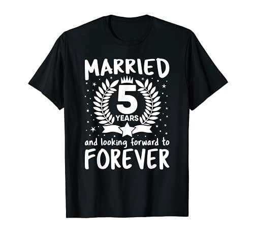 5 Años Boda Aniversario Esposa Marido Parejas Coincidencia Camiseta