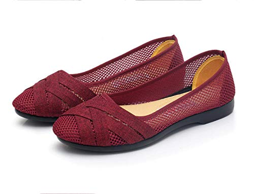 ZR1LZ Sandalias de tacón,Sandalias de Verano para Mujer, Zapatos de Maternidad, Antideslizantes, Transpirables, Sandalias Planas, Zapatos de mamá-40_ Vino Tinto
