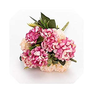 Silk Flower Arrangements Baby Breath Flowers Artificial  Silk Hydrangeas Artificial Flowers White Wedding Flowers Small Bouquet Fake Flower Party Home for Decoration Pink-Rose-2 Pcs