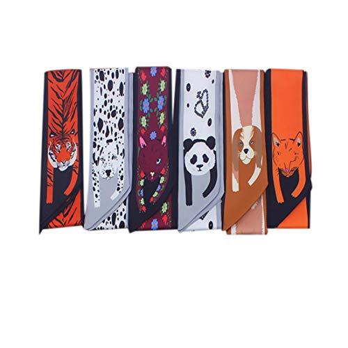Bongles 3pcs Frauen-Handgriff-Band-Schal Narrow Neck Schal Tier Printed Tie Scaves Für Damen Paket-Band-Armband Haar Kopf (Zufällige Farbe)