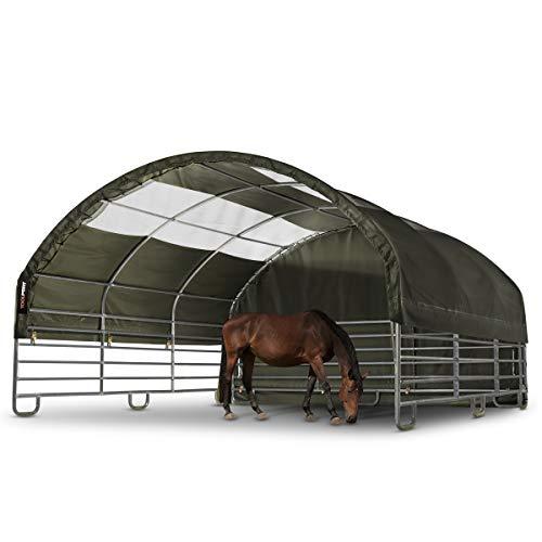 TOOLPORT Stabiles Weidezelt mit Oberlichtern 6x6 m feuersichere 720 g/m² PVC Plane, für Erdboden, Stallzelt Pferde grün