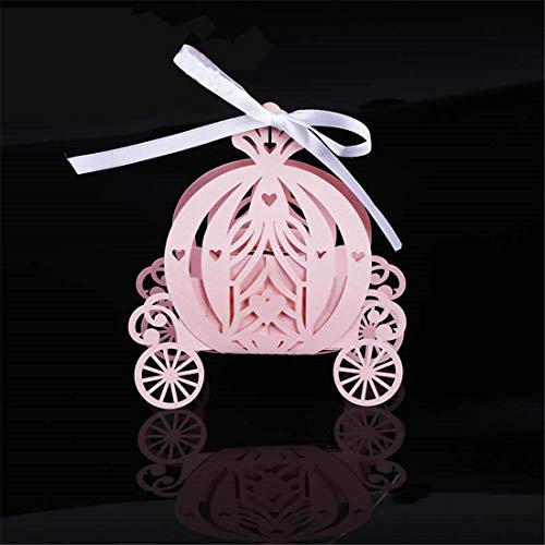 JONARO 50pcs Laser Cut Pumpkin Carriage Wedding Candy Favor Box,Pearl Color Paper Candy Box,Baby Shower Birthday Gift