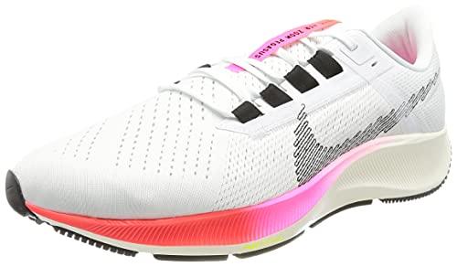 Nike Air Zoom Pegasus 38 T, Zapatillas para Correr Hombre, White/Black-Football Grey-Pink, 42.5 EU