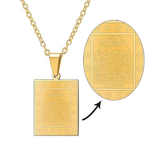 PROSTEEL Damen Kette Collier 18k vergoldet Ayatul Kursi Anhänger Halskette mit Allah und Koran Verse Muslim Modeschmuck Accessoire Geschenk für Geburtstag