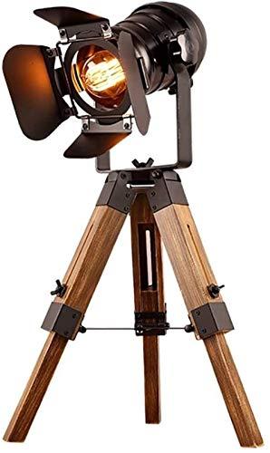 Equipo diario Lámpara de mesa de cine ajustable Negro náutico Estilo retro Trípode Focos Proyectores Trípode de madera Lámpara de pie Accesorios para películas de cine No incluye bombillas E26 [Cla