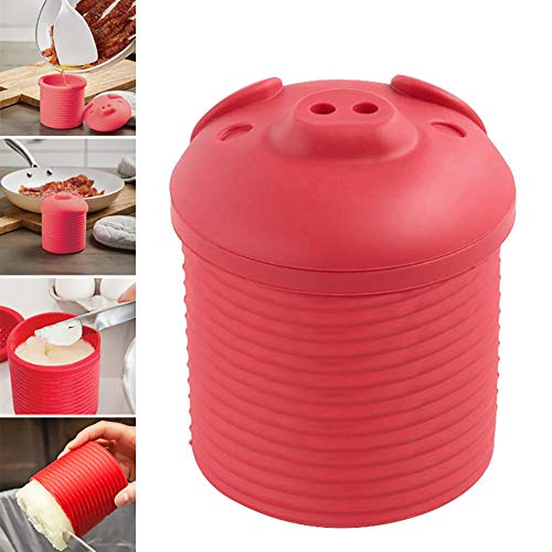 1 Pc Cartoon Piggy Design Bacon Grease Leacher Silicone Bacon Grease Collector Storage Container Bin Bacon Grease Strainer Multifunctional Kitchen Gadgets(Pink)