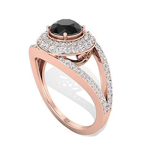 Anillo de compromiso con halo de diamante negro de 1,44 quilates, diseño del mal de ojo, anillo de boda con certificado IGI, anillo de aniversario de novia vintage, 14K Oro rosa, Size:EU 68