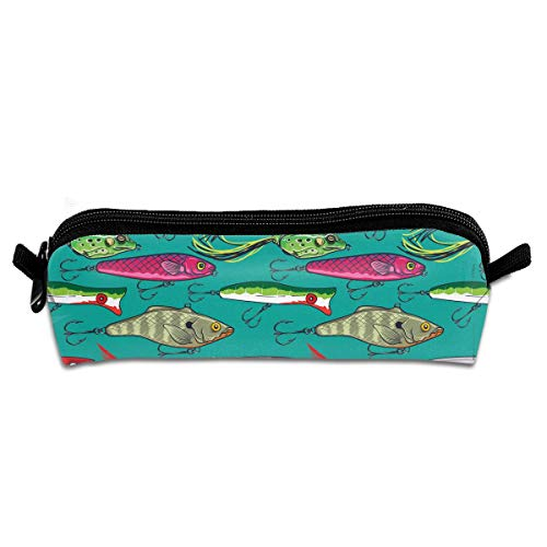 Colorful Fishing Lures Pencil Case Pen Bag Pouch Stationary Case Makeup Cosmetic Bag