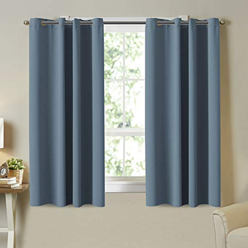 Thermal Insulated Solid Grommet Blackout Curtain Panels for Bedroom Room Darkening Curtains/Drapes for Kitchen Room, 2 Panels, Small Window Blackout Curtains, Citadel Blue