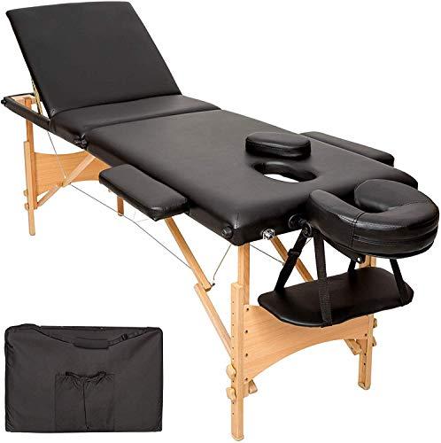 FRANKYSTAR Lettino Massaggi Professionale per Estetista e Fisioterapia 3 Zone in PU Nera Struttura Pieghevole in Legno ed Acciaio. Borsa Inclusa