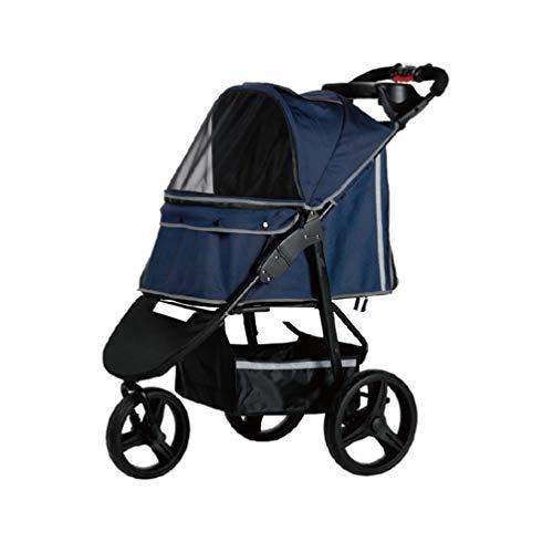 RYAN Hond Pushchair, Kinderwagen Pram Carrier Kat Dieren Trolley Outdoor Reizen Buggy Voor Gehandicapten Hond Met 3 Wielen Huisdier Winkelwagen, Blauw