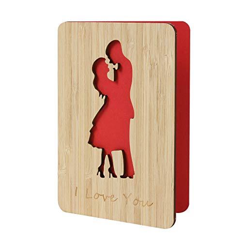Liebe Umarmung Romantische Jubiläumskarte von Bambus, Grußkarte mit Muster, Geburtstagskarte für Frau, Mann, tolles Geschenk am Valentinstag, Geburtstag, Hochzeitstag