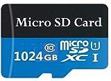 Tarjeta de memoria Micro SD con adaptador MicroSD de alta velocidad, clase 10, U1, A1, 512 GB/1024 GB para teléfono, tableta y PCs (1024 GB azul)