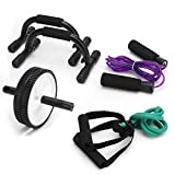 Kognita 4-in-1 Ab Wheel Roller Set with Push-up Bars Jump Rope Resistance Band Abs Workout Equipment...
