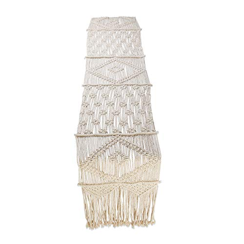 Folkulture Macrame Table Runner for Farmhouse 36 Inches Long, Wedding Table Decor or Boho Table Runners for Dining Room, Vintage Rustic Bohemian Style Home Decor, 13 x 36 Inches, 100% Cotton