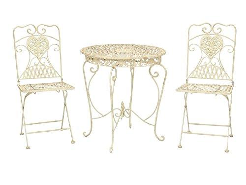 Mesa y 2 sillas Mesa de Bar de jardín de Hierro Blanco de Estilo Antiguo