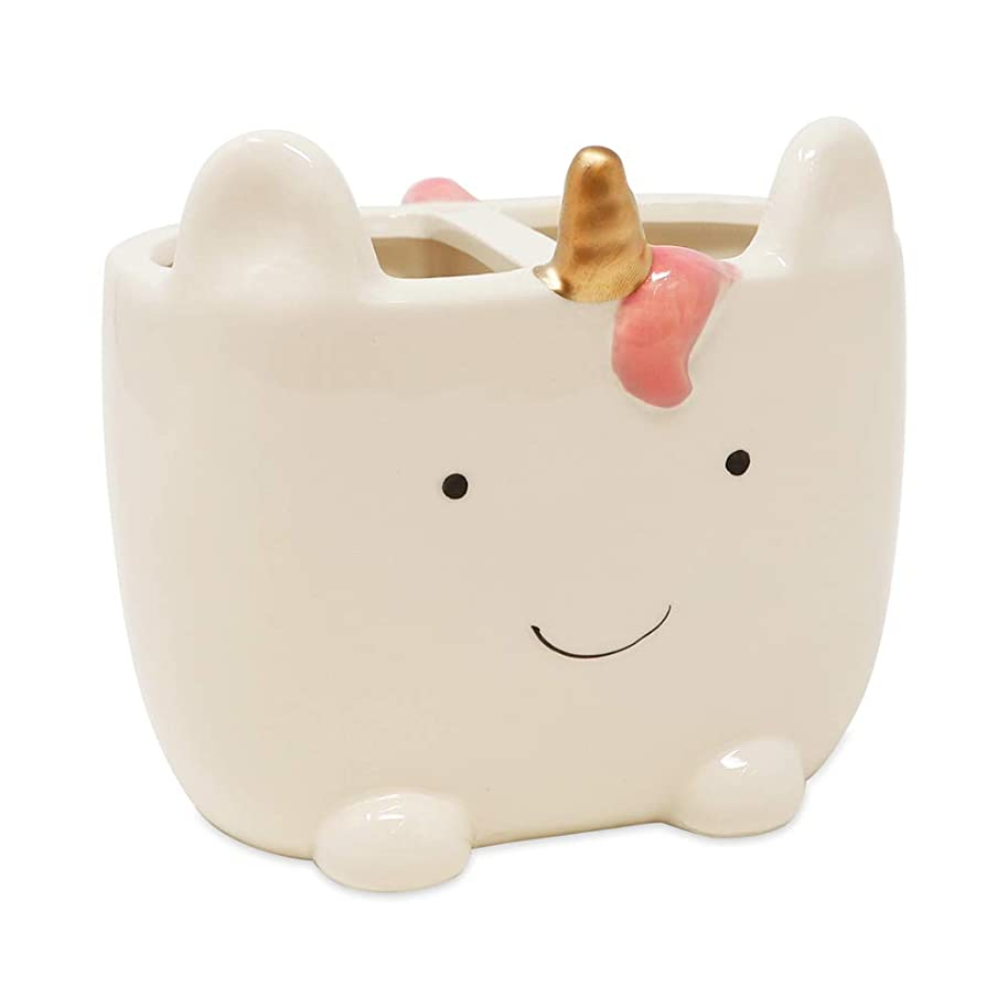 Isaac Jacobs White Ceramic Unicorn Makeup Brush Holder, Multi-Purpose 2-Section Organizer. Bathroom, Kitchen, Bedroom, Office Décor (2-Section Cup, Unicorn)