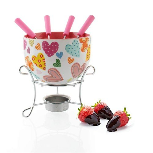 LGVSHOPPING LGV Kit Set Fonduta Cioccolato 6 Pezzi Choco Hearts A11613 Design Cuori Banquet