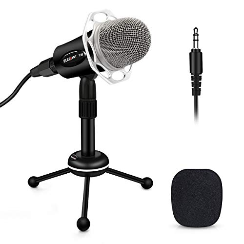 PC Microphone, ELEGIANT Y20 Portable Condenser Microphone 3.5mm Plug & Play with Tripod Stand Home Studio Recording Microphone for Computer, Smartphone, iPad, Podcasting Karaoke, YouTube, Skype, Games