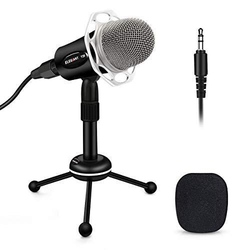 ELEGIANT Microphone PC, Micro Professionnel à Condensateur Podcasting Studio XLR vers Jack pour Radio Skype Youtube Jeux Videos Recherche de Voix Compatible avec Ordinateur PC Windows Mac