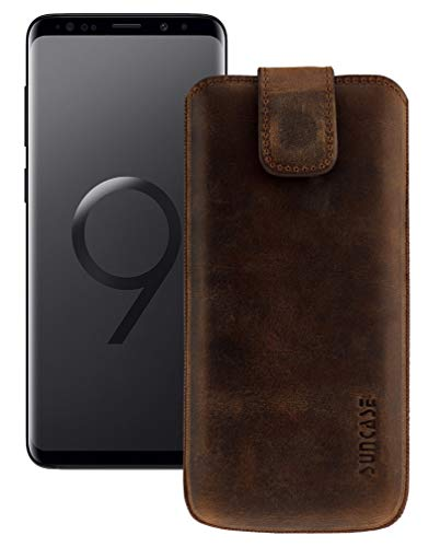 Suncase Original Hülle für Samsung Galaxy S9 mit ZUSÄTZLICHER Silikon Case/Schale/Bumper *Lasche mit Rückzugfunktion* Leder Tasche Etui in antik-Coffee