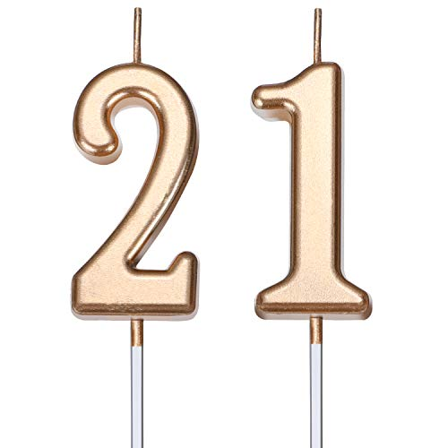 21st Birthday Candles Cake Number Candles Happy Birthday Cake Candles Topper Decoration for Birthday Wedding Anniversary Celebration Favor, Champagne Gold