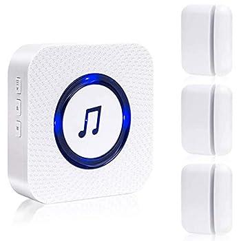 Business Door Entry Chime Sanjie Door Open Alert for Store Home Office Door Alarm with Chime Adjustable Volume 55 Ringtones 1 Receiver 3 Magnetic Sensor  White