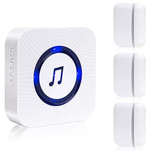 SanJie Wireless Door Open Chime Entry Alert Chime Door Sensor Alarm For Business Home Store 55 Ringtones 5 Volume Level 1 Receiver 3 Magnetic Door Alarm Sensors