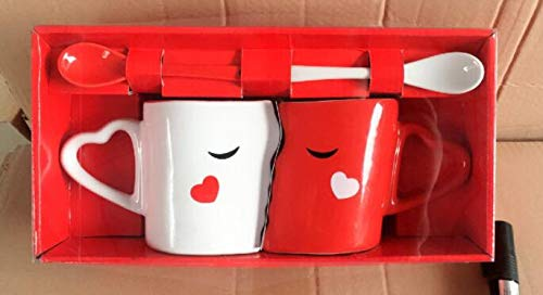 Anjiyoyo Set of 2 Creative Coffee Cups Double Bowl Ceramic Bowl Kiss Valentine's Day Couple Cups and...