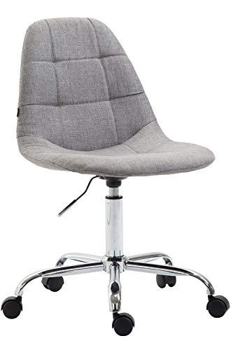 CLP Bürostuhl Reims Mit Stoffbezug I Schreibtischstuhl Mit Gestepptem Sitz I Höhenverstellbarer Arbeitsstuhl Mit Metallgestell, Farbe:grau
