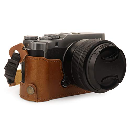 MegaGear MG1772 Ever Ready Leather Camera Half Case Compatible with Fujifilm X-A7 - Light Brown