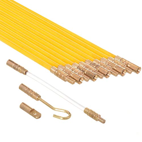 Ram-Pro 33-Feet Fiberglass Fish Tape Cable Rods, Electrical Wire Running Pull/Push Kit | Fishing Feeder Pole Sticks Snake Tool for Coaxial Wall Wiring