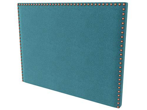 LA WEB DEL COLCHON - Cabecero tapizado Tachuelas para Cama de 150 (160 x 120 cms) Turquesa Textil Suave | Cama Juvenil | Cama Matrimonio | Cabezal Cama |