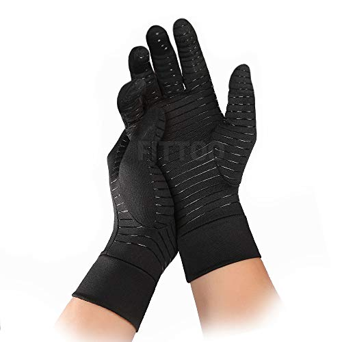FITTOO Arthritis Copper Compression Gloves Comfy Fit, Men & Women Full Finger & Anti-Slip Hand Compression Gloves for Joint Pain Symptom Relief, Ease Muscle Tension