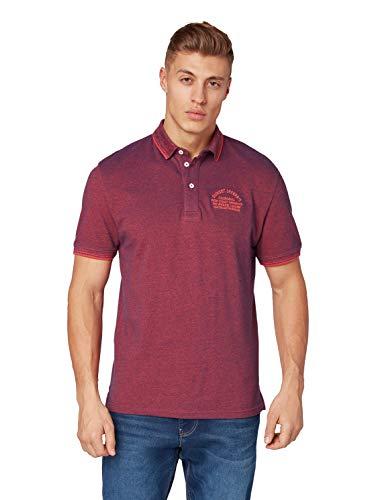 TOM TAILOR für Männer Poloshirts Poloshirt mit Stickerei red Two Tone Pique, XL