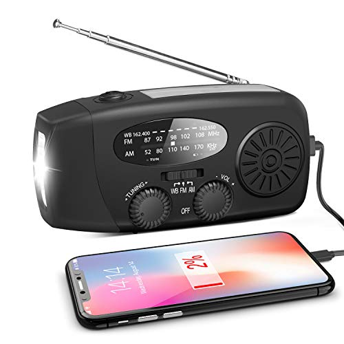 Emergency Hand Crank Radio, Portable Self Powered AM/FM/NOAA Solar Wind Up Weather Radio, with LED Flashlight, USB Rechargeable, 1000mAh Power Bank for Cell Phone Charger Black