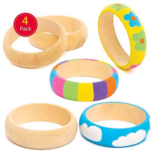 Baker Ross houten armbanden-knutselsets - knutselset voor kinderen (4 stuks)